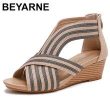 BEYARNE Platform Wedge heel platform sandals women 2021 summer new bag heel zipper Roman shoes fashion casual women sandals