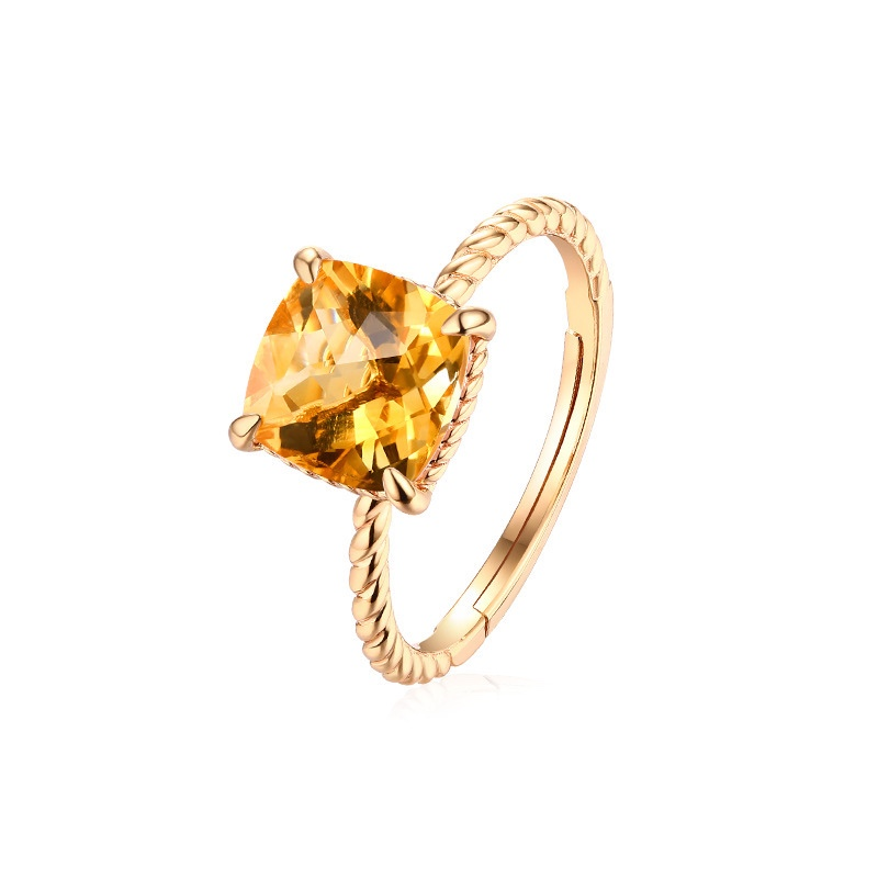Yellow Natural Crystal Ring Finger Net Red Ring Female Cold Wave A Person Pure And Fresh Tail Ring Female Personality Jewelry