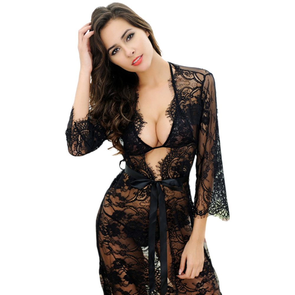 Women's lace embroidered hollow see through sexy black nightgown pink white cardigan bra+thong+nightgown 3piece/pack CYHWR