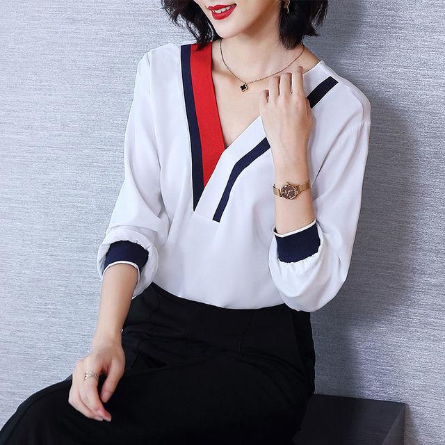 Women's Spring Summer Style Chiffon Blouses Shirt Women's V-Neck Three Quarter Sleeve Splicing Korean Elegant Tops DD9036 2