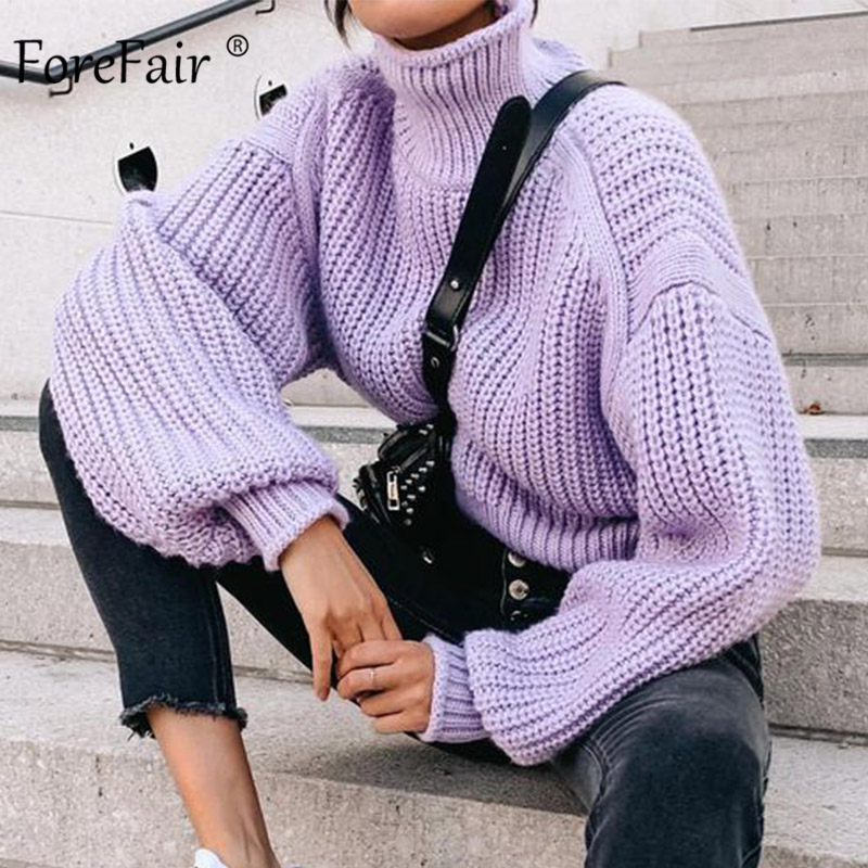 Forefair Casual Loose Knitted Oversized Turtleneck Sweater Women Winter Knitwear Long Sleeve Solid Purple Women Sweater(China)