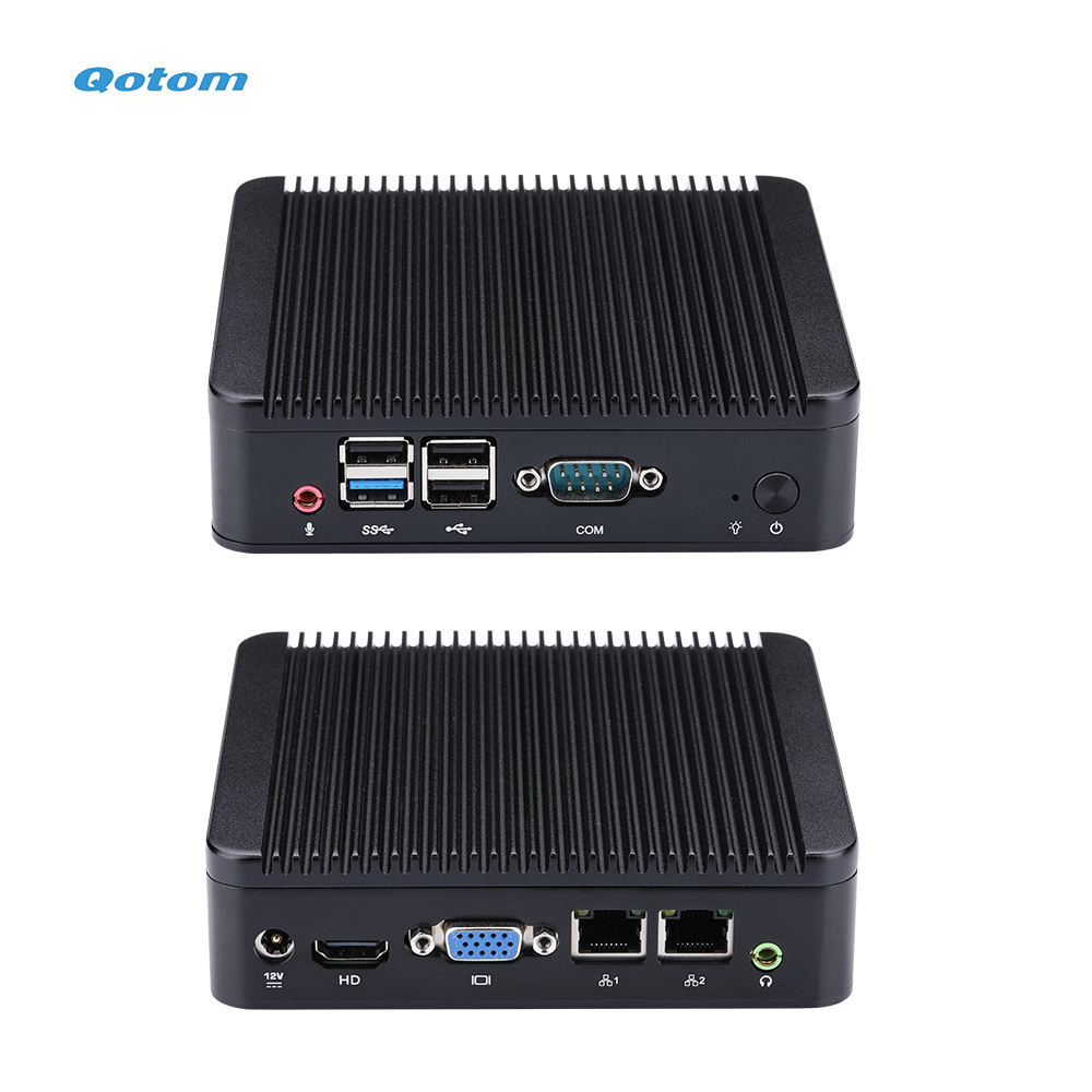 QOTOM Mini PC Q190S With BayTrail J1900 Processor, Fanless Dual LAN Mini PC Quad Core 2.42 GHz