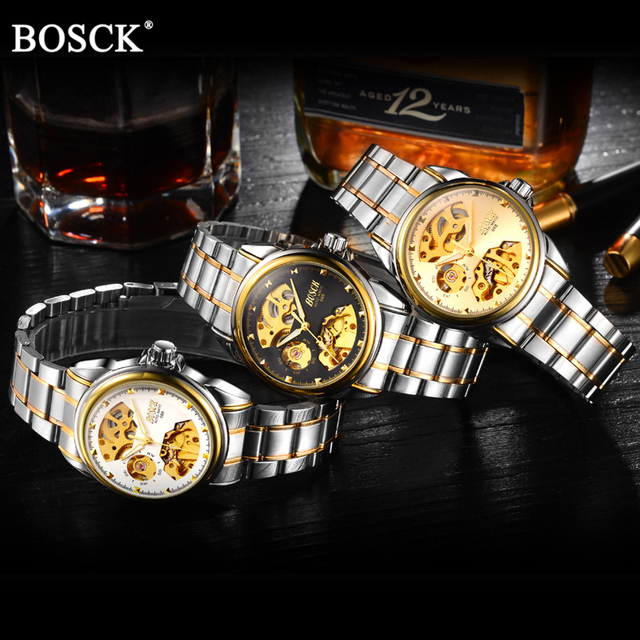 Automatic Mechanical Gold Skeleton Self Winding Watch 4