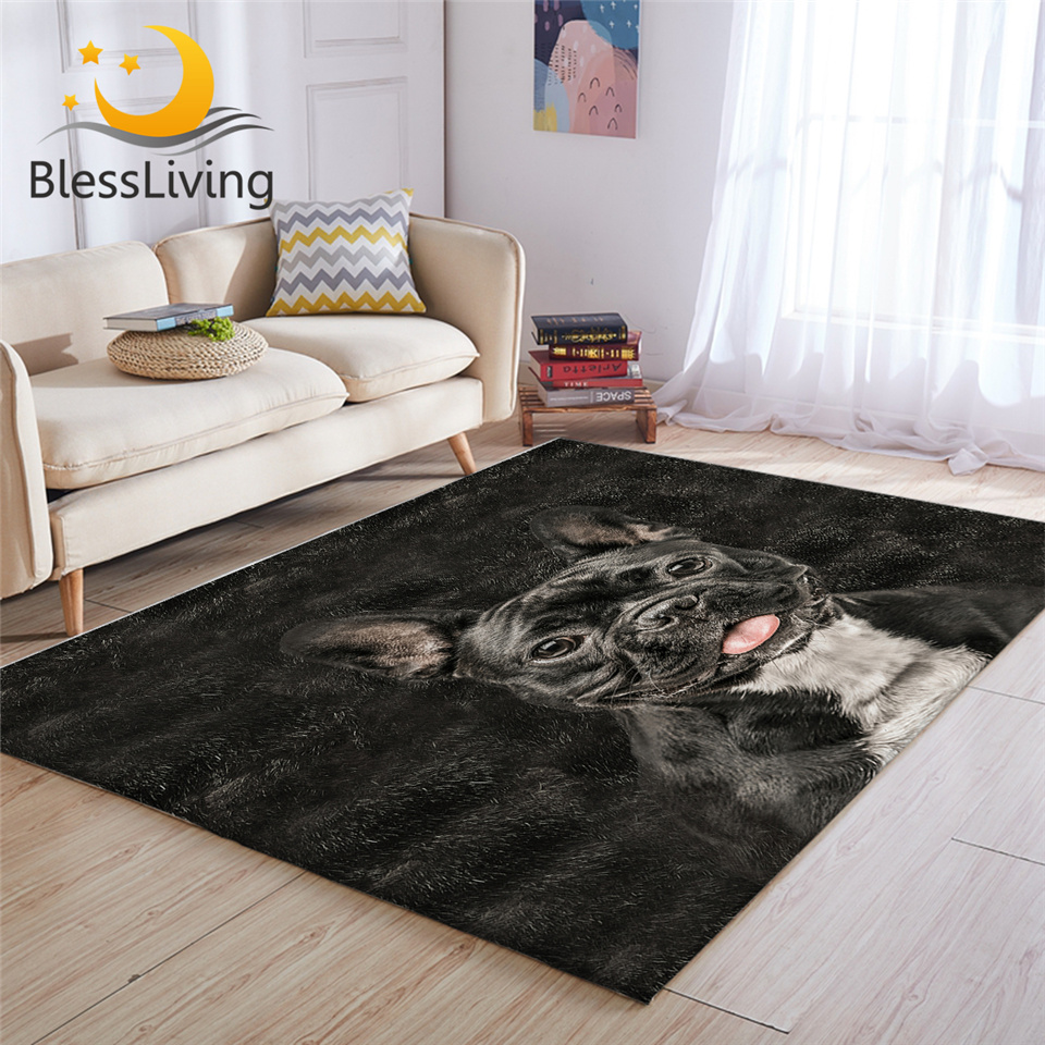 BlessLiving Dog Bedroom Carpet Animal Fur Area Rug For Living Room Black 3D Carpet Bulldog Dachshund Tapis Kids Room 152x244cm