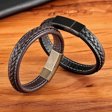 High Quality Simple Design Stainless Steel Leather Bracelet For Men Charm Jewelry Magnetic Clasp Customizable DIY Dropshipping