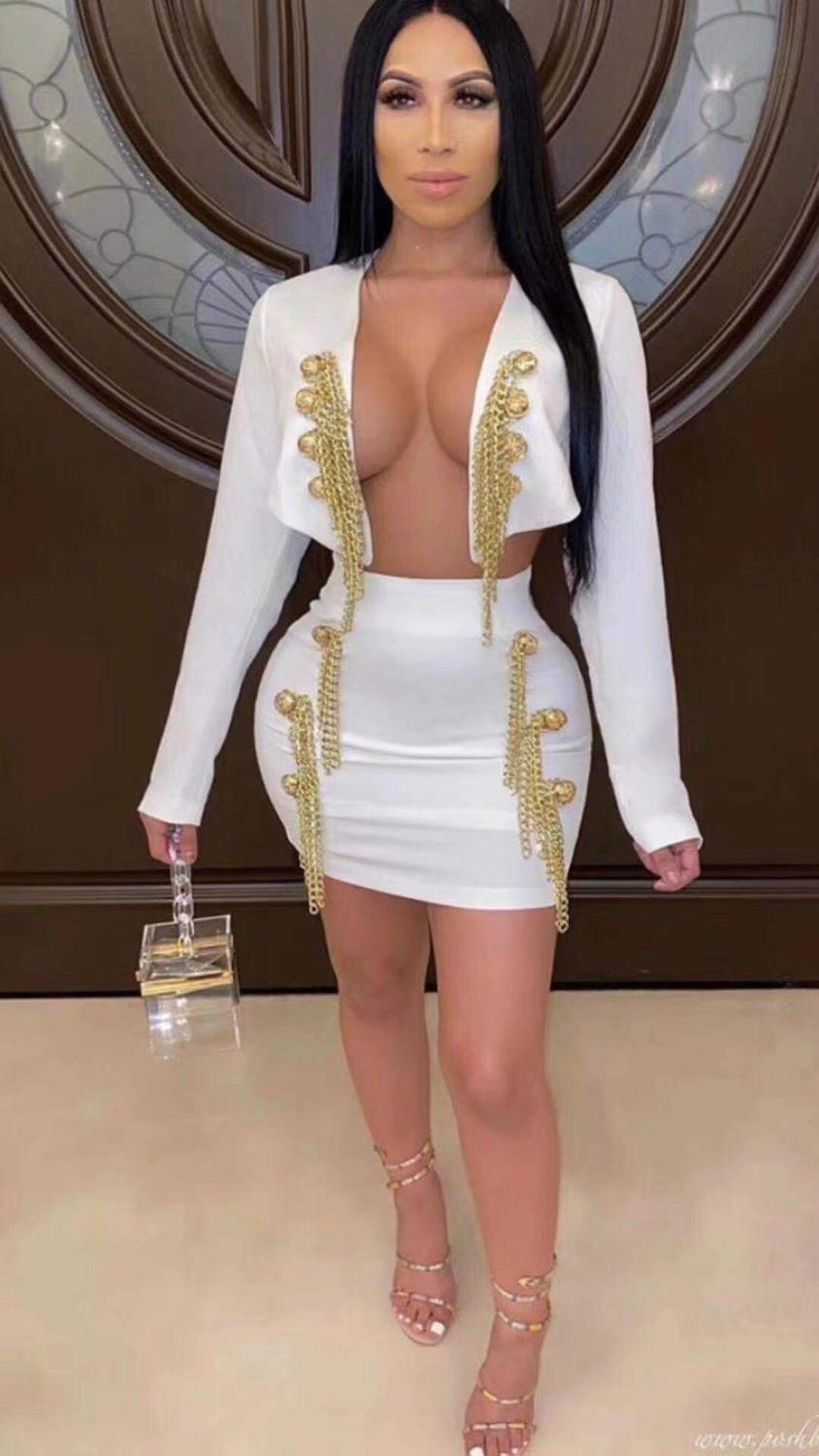 Top Quality Sexy Long Sleeve Black White Chain Two Piece Bodycon Bandage Dress 2020 Designer Fashion Party Dress Vestido