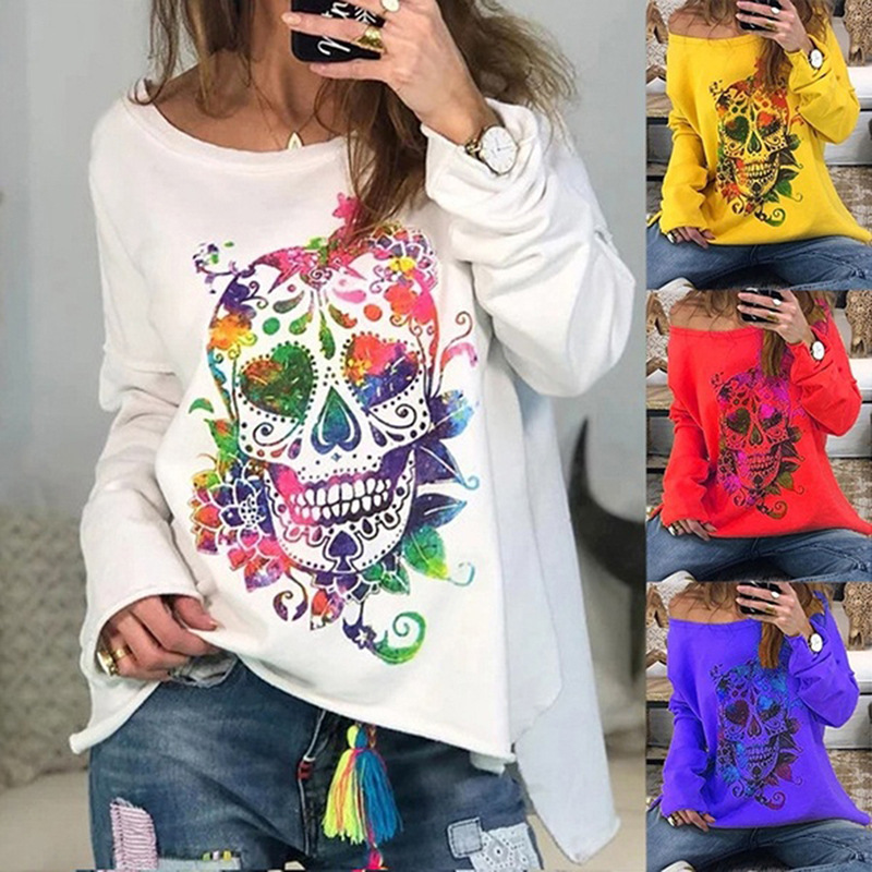 2020 Spring New Female Casual Loose O-Neck Long Sleeve Sweatshirts Ladies Fashion Shantou Print Pullover Splice Sweatshirt Tops