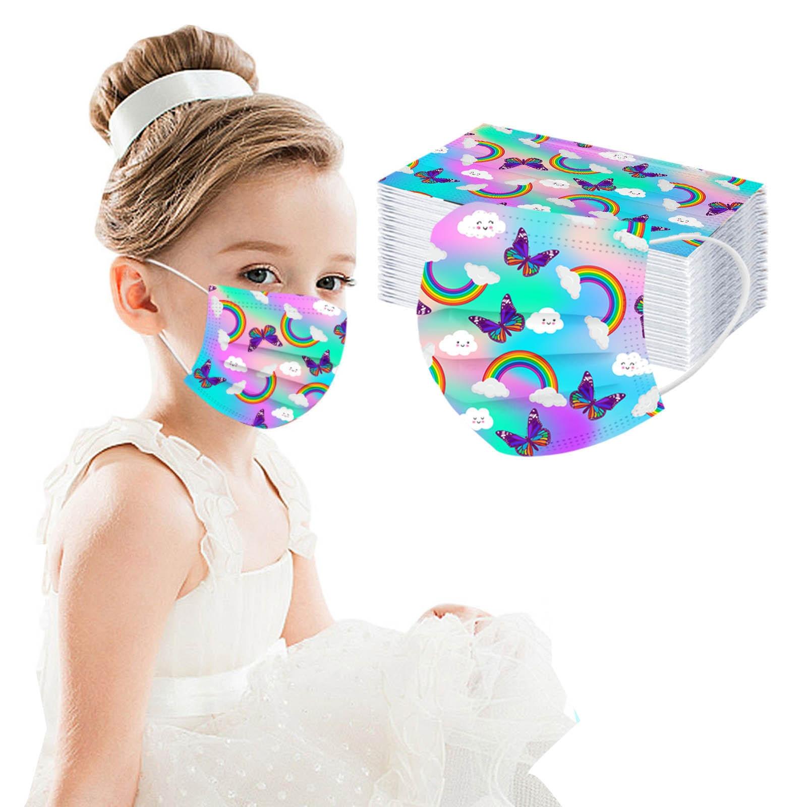 Маска одноразовая детская с радужной бабочкой, модная маска для защиты лица, 3 слоя, с заушными петлями, маски от пыли, 50 шт.
