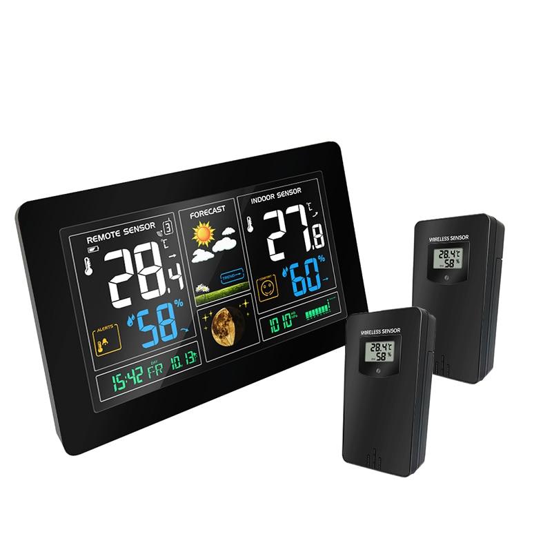 Беспроводные наружные датчики, метеостанция, цветной ЖК-дисплей, температура, влажность, погода, РСС, Повтор будильника