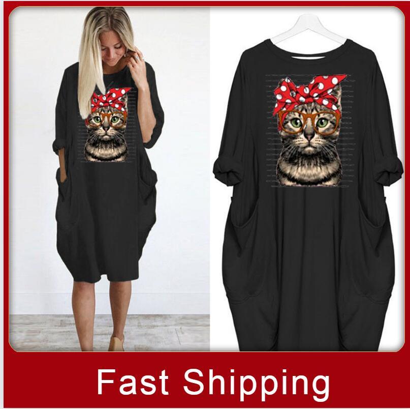 Fashion Cartoon Cat Women Oversized Dress Autumn Loose Casual Pullover Dresses Girls Long Sleeve Knee Length Print Vestido New