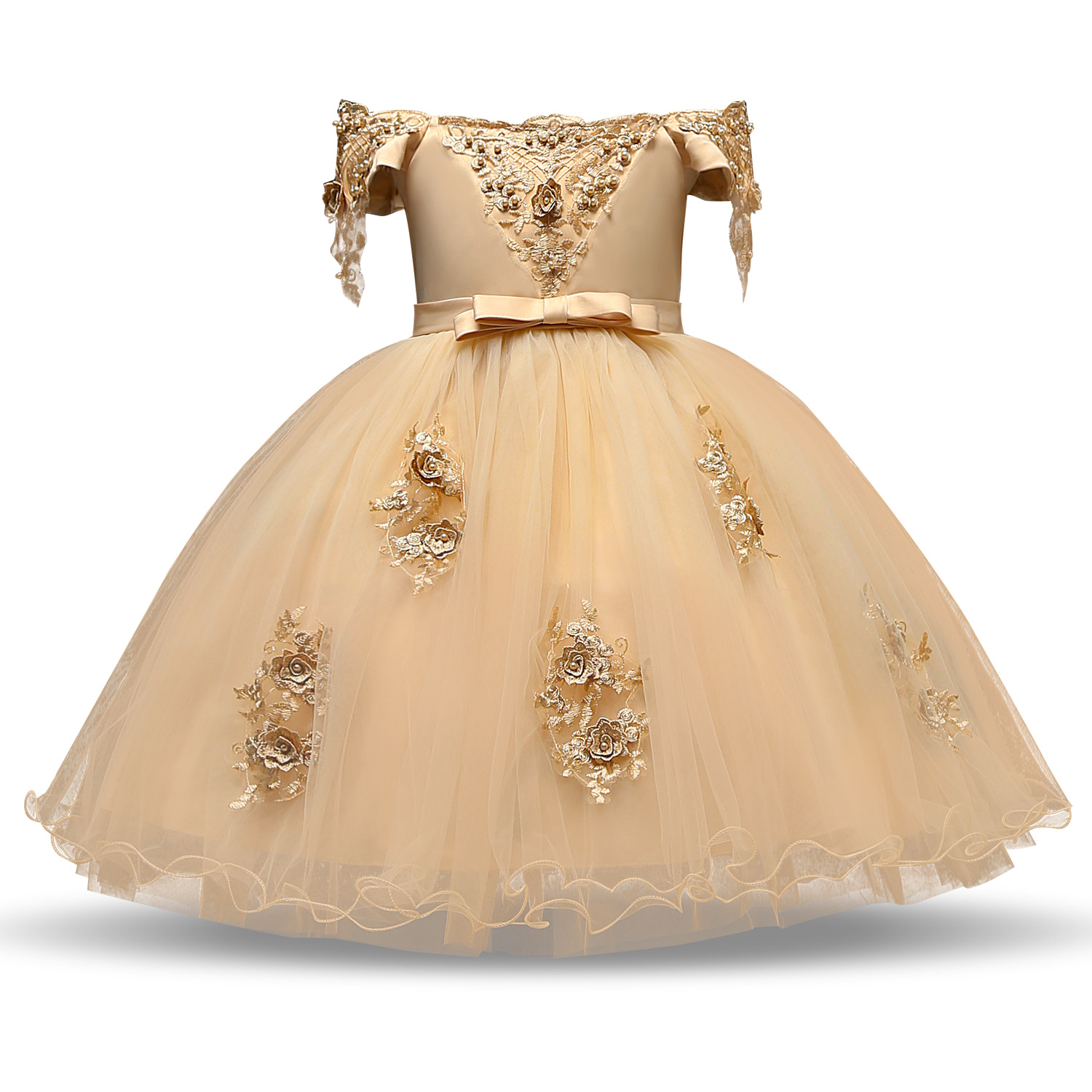 2019 New Style Children Wedding Dress Girls Beads Flower Off-Shoulder Formal Dress Bow Flower Boys/Flower Girls Puffy Princess S
