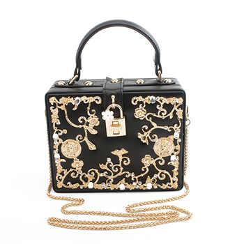 Fashion Women Evening Bag 2019 Ladies Pu Leather Clutches Box Elegant Shoulder Bag Crossbody Wallet Flower Metal Hasp Handbag - Category 🛒 Luggage & Bags
