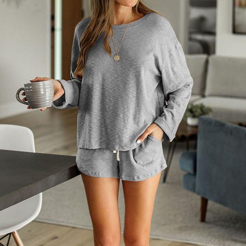 2020 New loungewear women pajama set summer breathable nightgown sleepwear indoor long sleeve sleep tops two pieces pijama mujer (11)