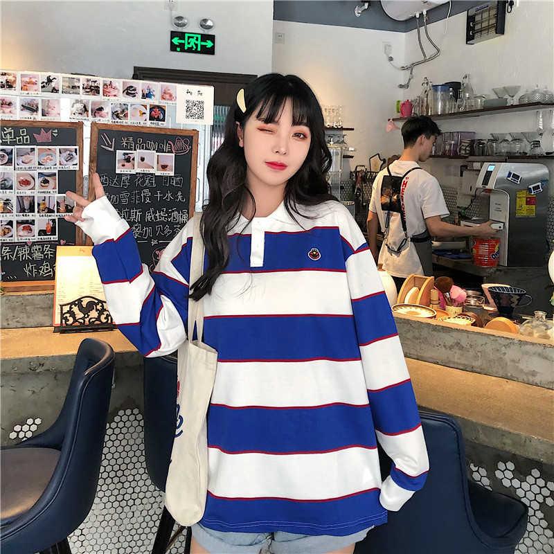 2019 ブルー白のストライプレディースポロシャツ長袖プラスサイズルースストリート女性の秋かわいい漫画刺繍 tシャツトップス
