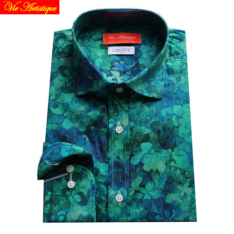 Custom Tailor Made Men's Bespoke Dress Shirts Business Casual Wedding Blouse Blue Coffee Cherry Floral Cotton LIBERTY FASHION