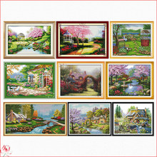 Romantic Garden Pattern Counting and Stamping Cross Stitch Kit 14CT 11CT Chinese Embroidery DIY Needlework Sewing Set Deco Gift