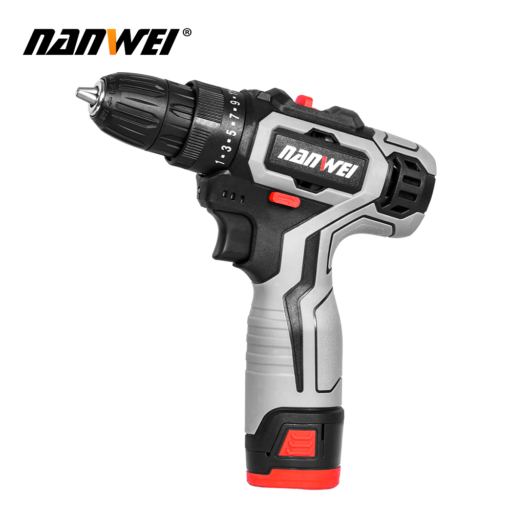 Tools : 2020 new style NANWEI 12V 18V Screwdriver Mini Lithium-Ion Battery 3 8-In new color for household