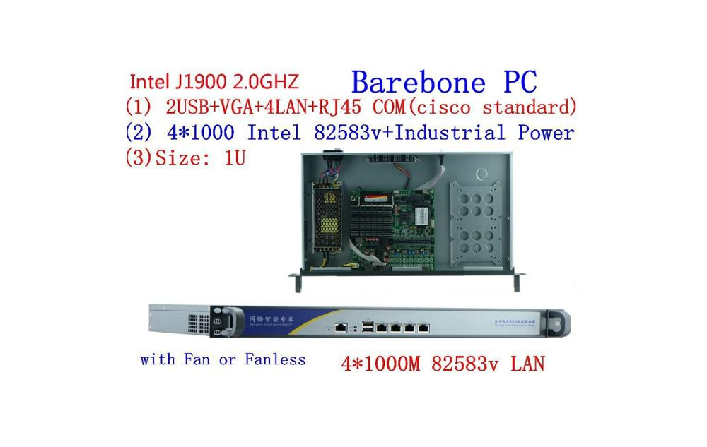 1U J1900 Firewall Router Quad Core  J1900 4*1000M LAN Network Server Firewall Router With  4*82583v LAN