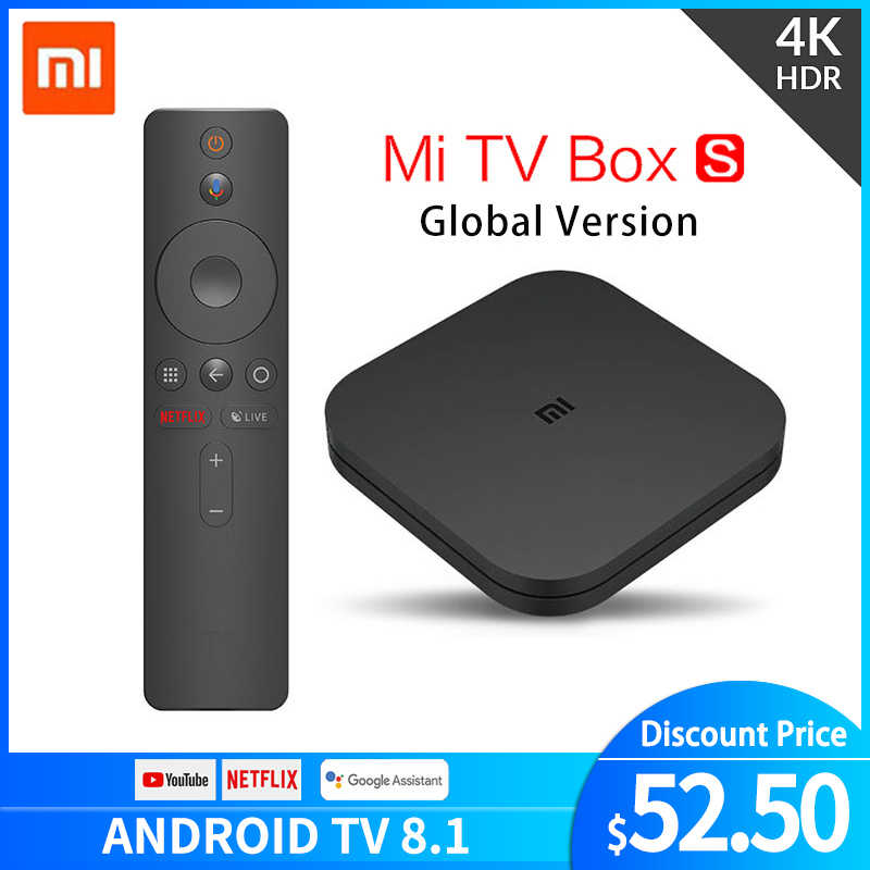 Original global xiaomi mi caixa de tv s 4 k hdr android tv 8.1 ultra hd 2g 8g wifi google elenco netflix iptv conjunto caixa superior 4 media player