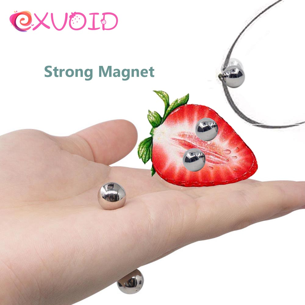 EXVOID Metal Magnet Balls Nipple Clamps Clitoris Clips Breast Stimulator BDSM Sex Toys For Couples Flirting Strong Magnetic Orbs