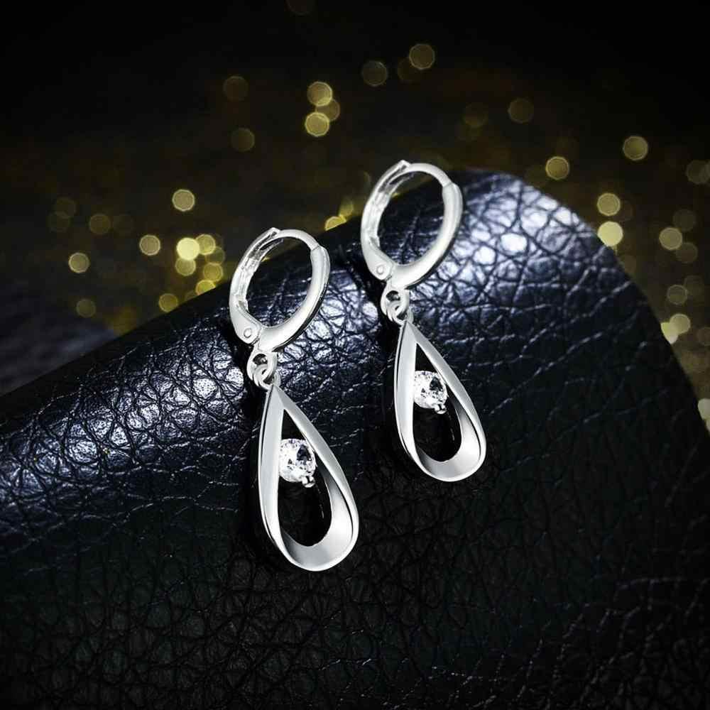 Neoglory Banhado A Prata brincos de Luxo Zircão Cúbico Presente para As Mulheres Festa de Casamento Engagement Jóias Declaração