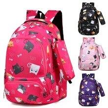 Backpacks School Cartoon Cat Children School Bags Girls Sweet Kids School Backpack Lightweight Waterproof Primary Schoolbags Big