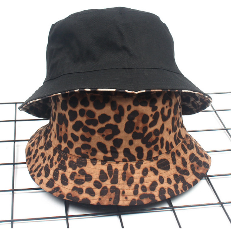 Leopard Reversible Female Bucket Hat Hip Hop Printed Women Summer Hat Cap Outdoor Fishing Lady Panama Casual Female Cap Sunhat