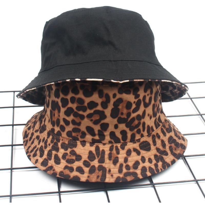 Leopard Reversible Female Bucket Hat Hip Hop Printed Women Summer Hat Cap Outdoor Fishing Lady Panama Casual Female Cap Sunhat