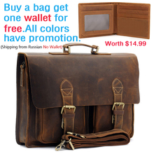 Fathers Day Gift Mens Vintage Real Crazy Horse Leather Briefcase Messenger Shoulder Portfolio Laptop Bag Case Handbag 1061