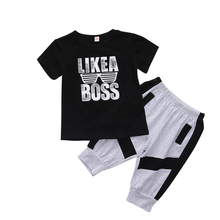 купить 1-6T Boys Back to School Summer Outfit Kids Boutique Clothing Set LIKE A BOSS Top Black T-shirt Gray Long Pants Suit дешево