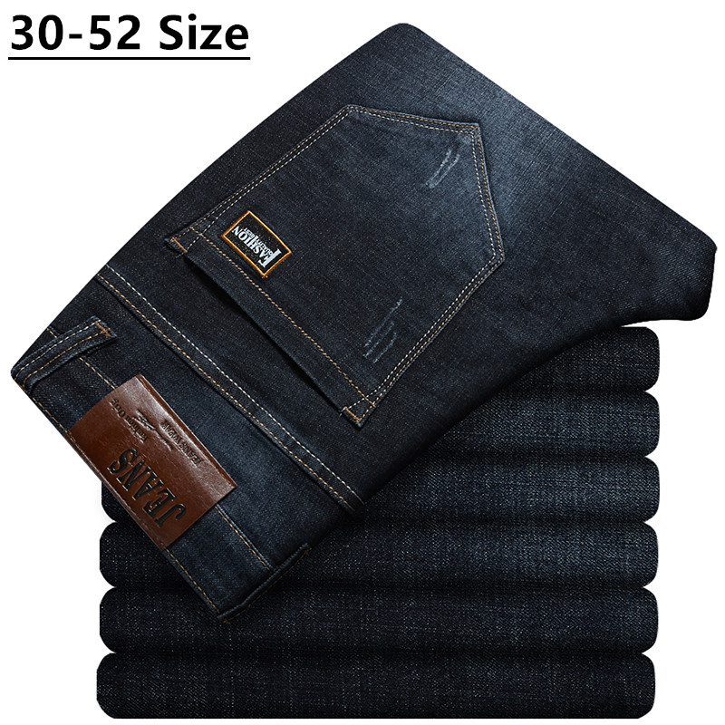 Plus Size 42 44 46 48 50 52 Men's Loose Straight Jeans Classic Business Denim Trousers Stretch Jean Pants Male Brand Black Blue