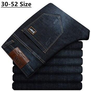 Plus Size 42 44 46 48 50 52 Men's Loose Straight Jeans Classic Business Denim Trousers Stretch Jean Pants Male Brand Black Blue