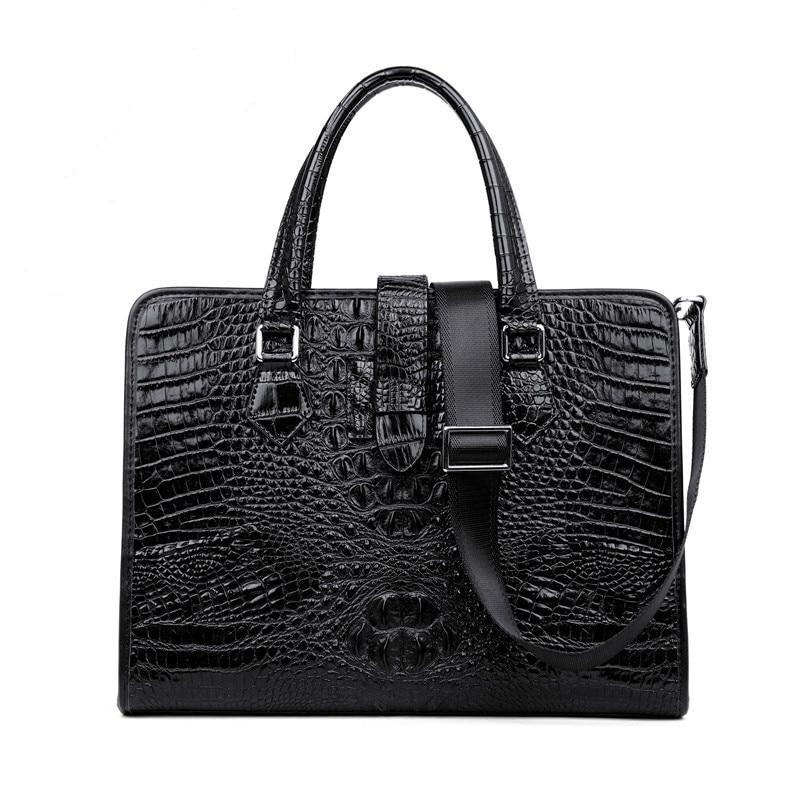 Crocodile Briefcase Male Business Affairs Handbag Man Leather Laptop Computer Bag Single Shoulder Package Oblique Office For Men