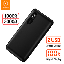 Mcdodo Banco de energía de 20000mAh para móvil, powerbank de carga rápida USB Dual para Xiaomi, iPhone 11, Samsung y LG, cargador portátil
