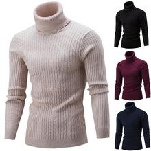 1Pc M/L/XL/XXL Fashion Comfortable Men Slim Fit Turtleneck Solid Color Long Sleeve Knitted Sweater Pullover Top свитер