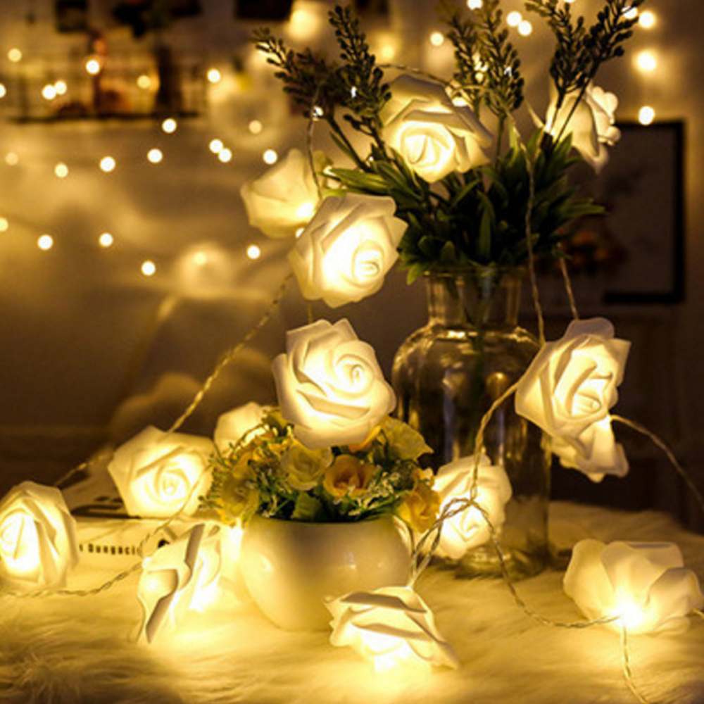 10/20/40 LED White Pink Rose Flower Christmas Lights Holiday String Lights USB/Battery Operated Valentine Wedding Party Decor