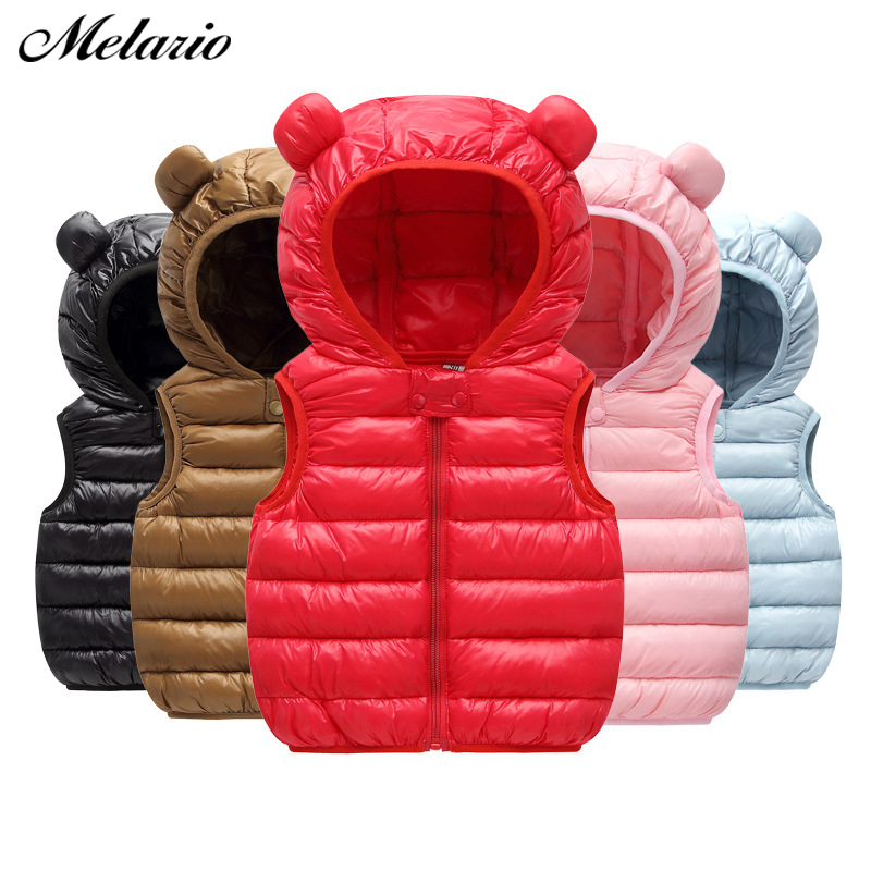 New Hooded Child Waistcoat Children Outerwear Winter Coats Kids Clothes Warm Cotton Baby Boys Girls Vest for Age 1-5 Years Old