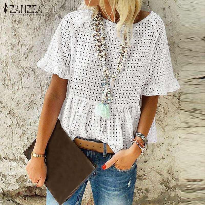 2020 ZANZEA Elegant Women's Lace Blouse Hollow Out Summer Tops Short Sleeve Shirts Female O Neck Casual Blusas Plus Size Top 5XL