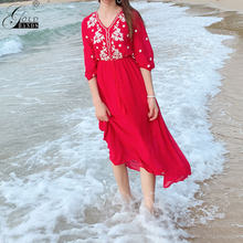 Gold Hands 2019 New Hot Summer Women Red Dress V-neck Half Sleeves Large Size Casual Holiday Dress Embroidery Slim Chic Dresses(China)