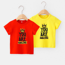 Boys & Girls Cartoon T-shirts Kids Letters Print T Shirt for Boy Children 2020 Summer Short Sleeve Cotton Tops Clothing WZFS215 summer boys t shirt children tops clothing cotton dinosaur short sleeve t shirts kids boy white girls tee toddler 1 8years baby