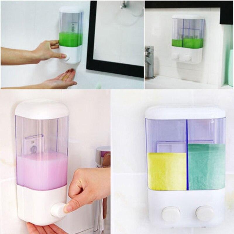 Ev ve Bahçe'ten Taşınabilir Sabun Dağıtıcılar'de 500ml 1000ml duvara monte banyo duş pompası şampuan sıvı dağıtıcı plastik her tüp kapasitesi 500ml title=