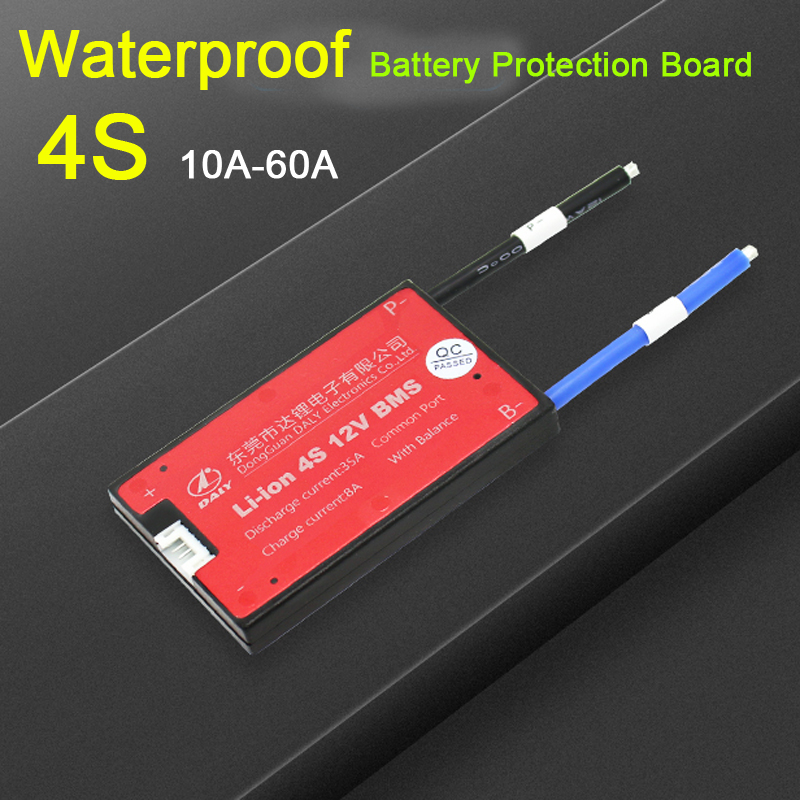 Waterproof 4S 12V 10A 20A 30A 40A 50A 60A LiFePO4 Li-ion BMS 18650 lithium battery Protection Board with balance 3.2V 3.7V image