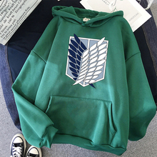 Anime Attack  Titan Hoodied Long Sleeve Streetwear Harajuku Sweatshirt Women Unisex Sport Hoody Green Tops Autumn Winter Hoodie