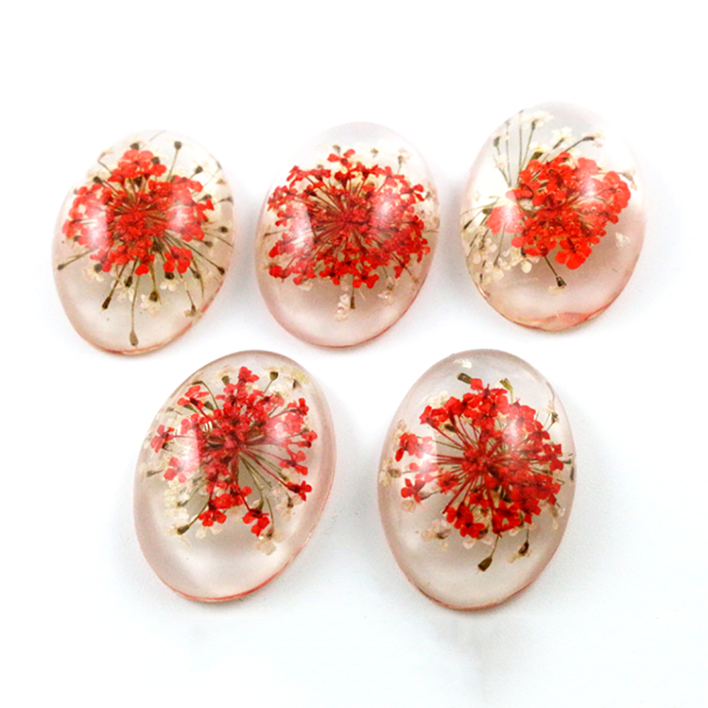 New Fashion 10pcs 18x25mm Red And White Flower Flat Back Resin Flower Cabochons Cameo  G6-41