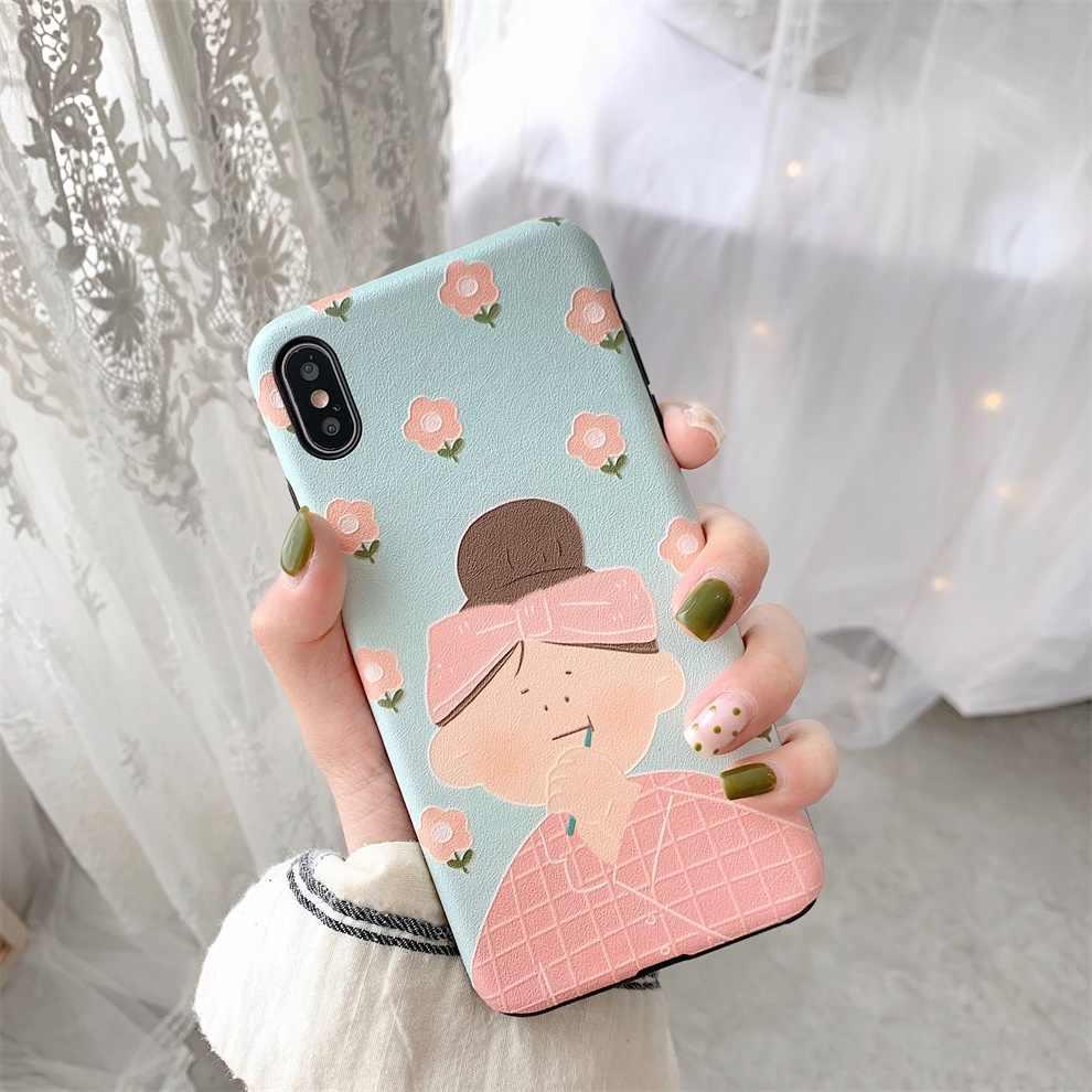 DTFQ Elegante Encantador Bonito Da Menina de Flor de Seda Padrão Em Relevo Caso Capa Mole TPU Silicone para o iphone 8 6s Plus 7 XR Xs Max X