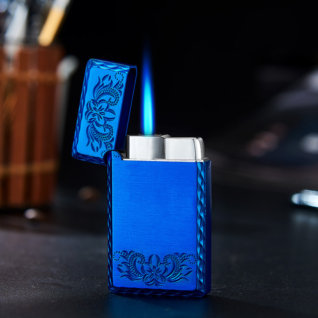 2020 New 1300C Blue Flame Butane Turbo Lighter Square Mini Gas Lighter Metal Lighters Smoking Accessories Cigarettes Lighters 5