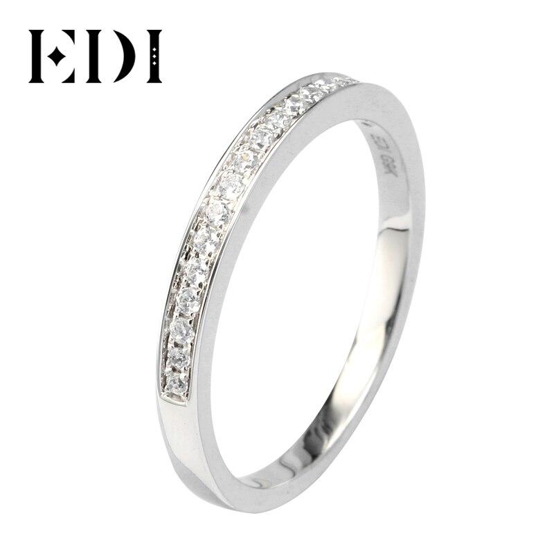 EDI solide 9K bague en or blanc ensemble pour femmes dame bague de fiançailles Pave simulé diamant bijoux correspondant bandes de mariage (SNR-116)