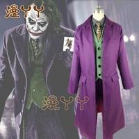 1:1 Halloween mens Movie The Dark Knight Joker Costume Heath Ledger Cosplay Suit Purple Jacket Full sets