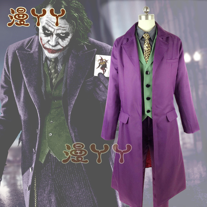 1:1 Halloween Mens Movie The Dark Knight  Joker Costume Heath Ledger Cosplay Suit Purple Jacket Full Sets