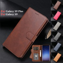 Etui Coque For Samsung S9 Cover Card Bags For Samsung Galaxy S9 Plus S9+ Funda Luxury Retro Leather Cash Slot Flip Phone Wallet(China)